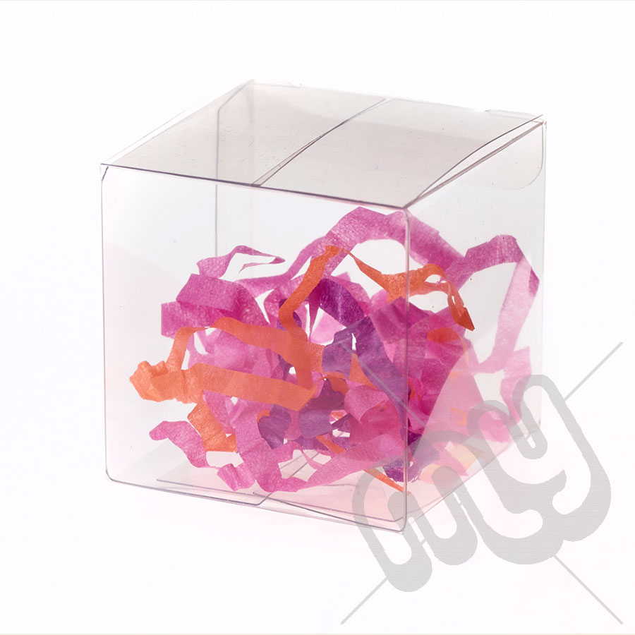 6cm x 6cm x 6cm Clear PVC Flat Folding Favour Boxes x 50pcs - My ...