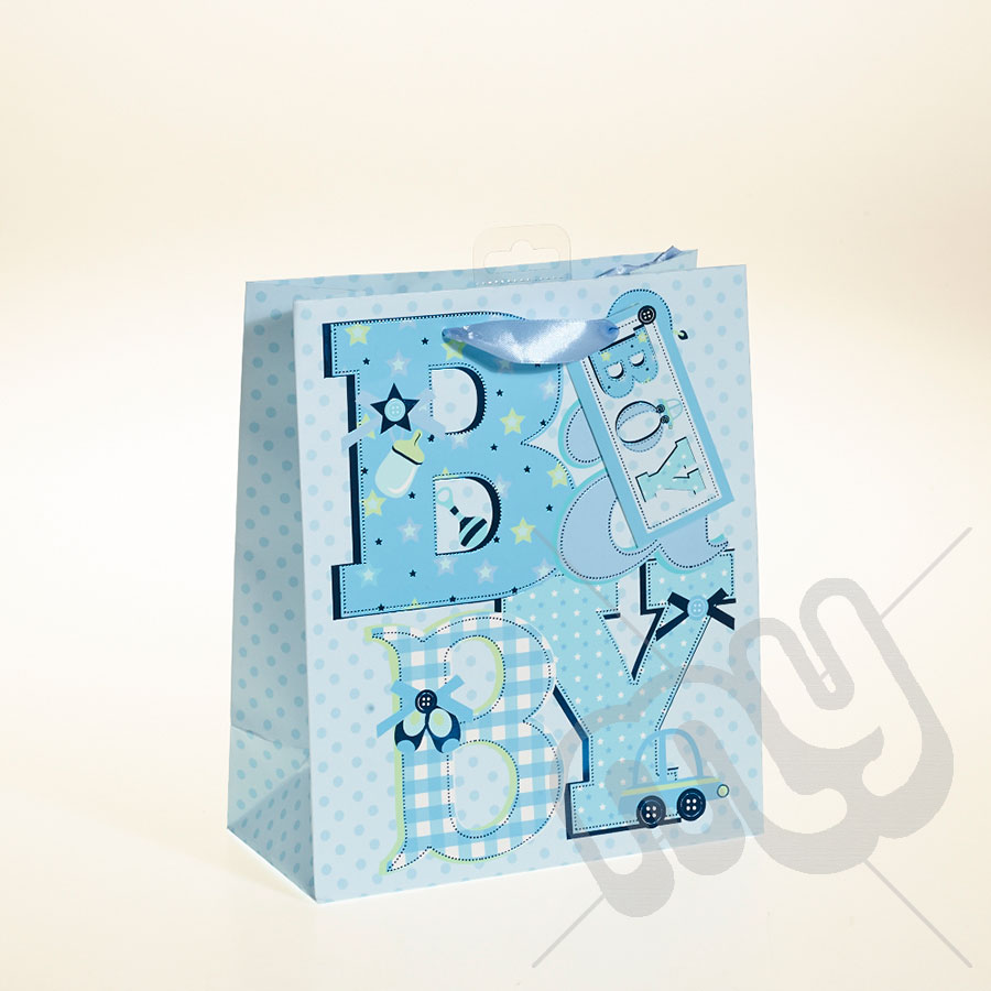 Baby Boy Gift Bag with Foil Detail - Medium x 1pc - My Carrier Bag ...