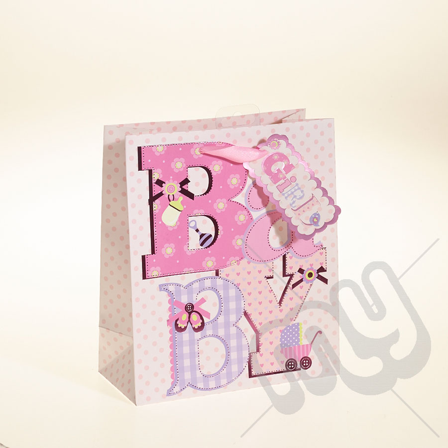 Baby Gift Bags Uk : Baby girl gift bag with foil detail medium pc my