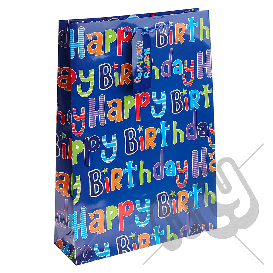bca272f3b5 Blue Boyish Happy Birthday Gift Bag - Extra Large x 1pc - My Carrier Bag  for Plastic Carrier Bags and General Packaging Supplies