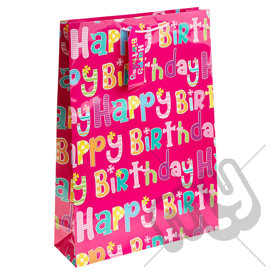 Pink Girly Happy Birthday Gift Bag