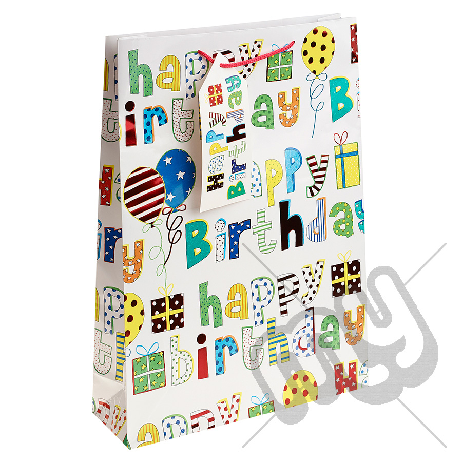 Generic White Multicoloured Font Happy Birthday Gift Bag
