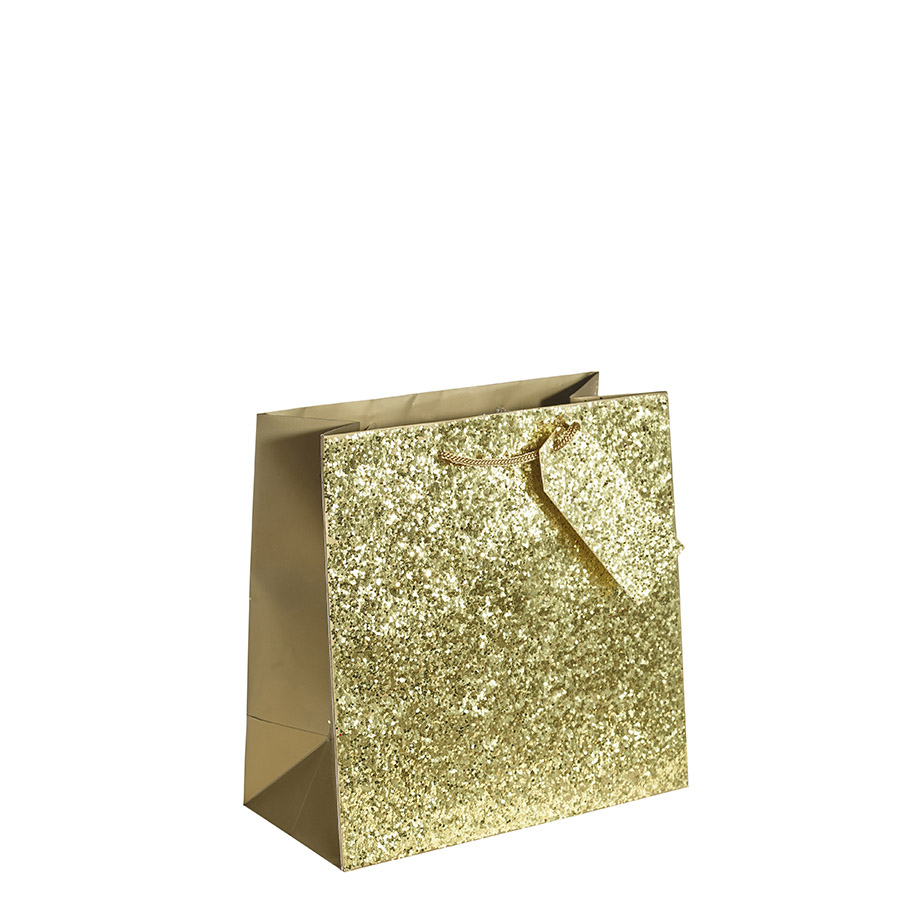 Crushed Gold Glitter Square Gift Bag – Large x 1pc - My Carrier ...