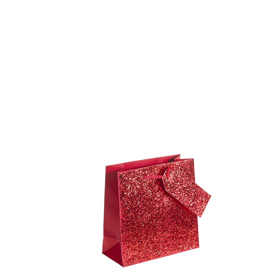 Crushed Red Glitter Square Gift Bag Medium X 1pc My Carrier Bag For