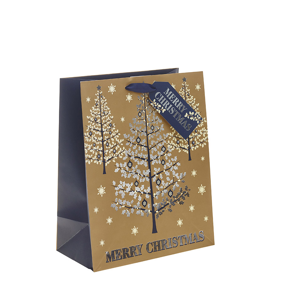 Attractive Gold, Silver & Navy Blue Classic Merry Christmas & Christmas Tree  CD38