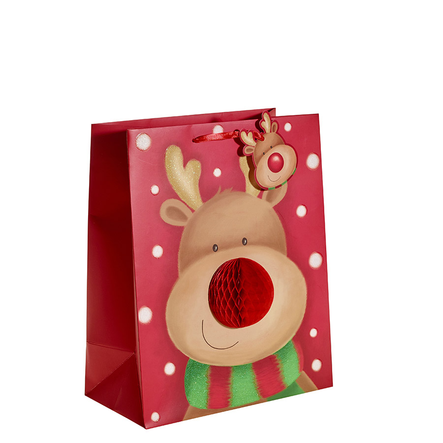 Delightful Christmas Gift Bags Part - 10: Cute Rudolph With A 3D Nose Christmas Gift Bag U2013 Large X 1pc