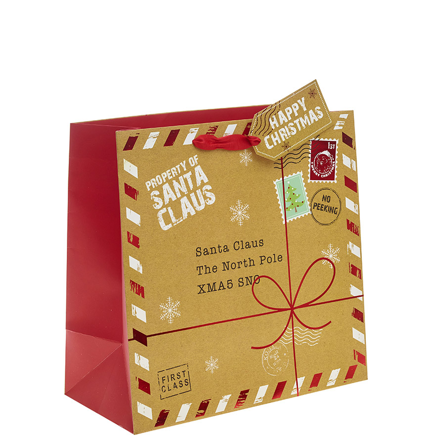 a present for santa square christmas gift bag large x 1pc
