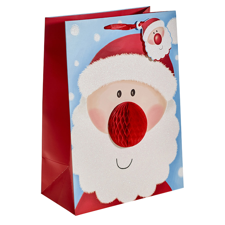 Cute Santa with a 3D Nose Christmas Gift Bag – Extra Large ...