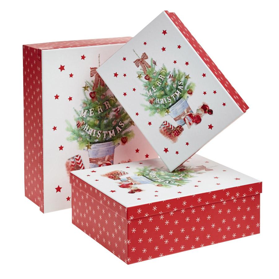 Set Of 3 Christmas Decoration Gift Box - Decorated christmas tree merry christmas gift boxes set of 3