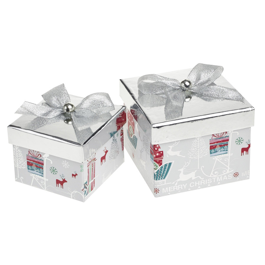A Magical Silver Square Christmas Gift Boxes Set Of 2