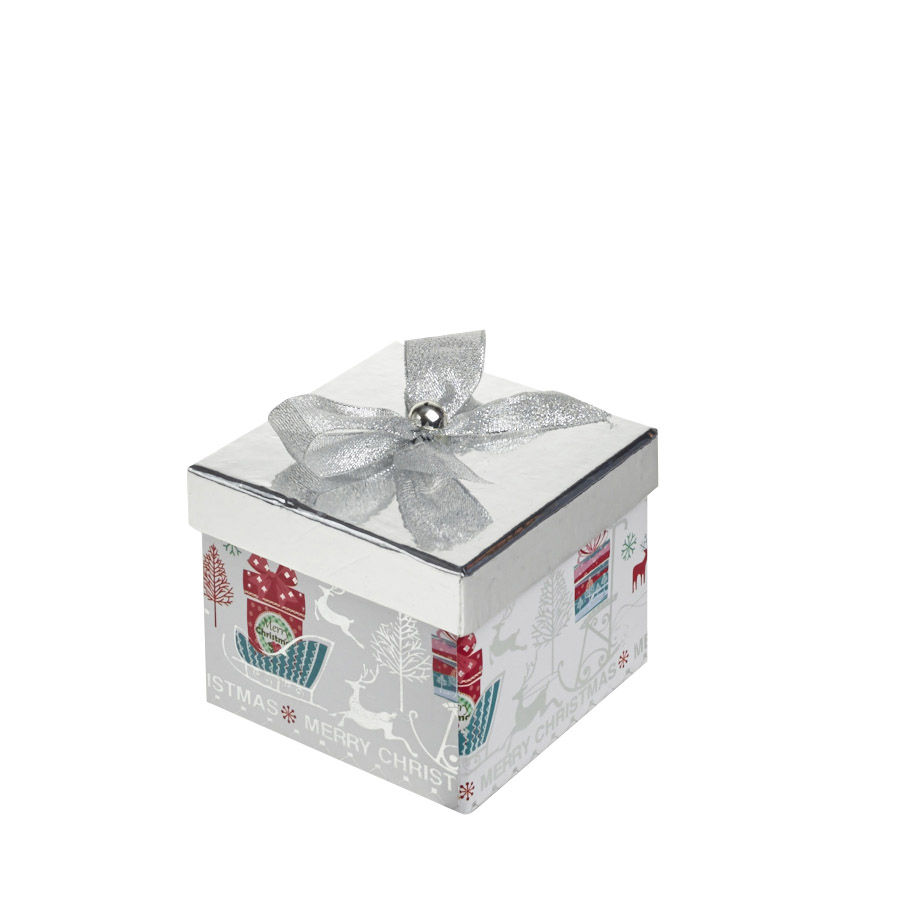 A Magical Silver Square Christmas Gift Box Large