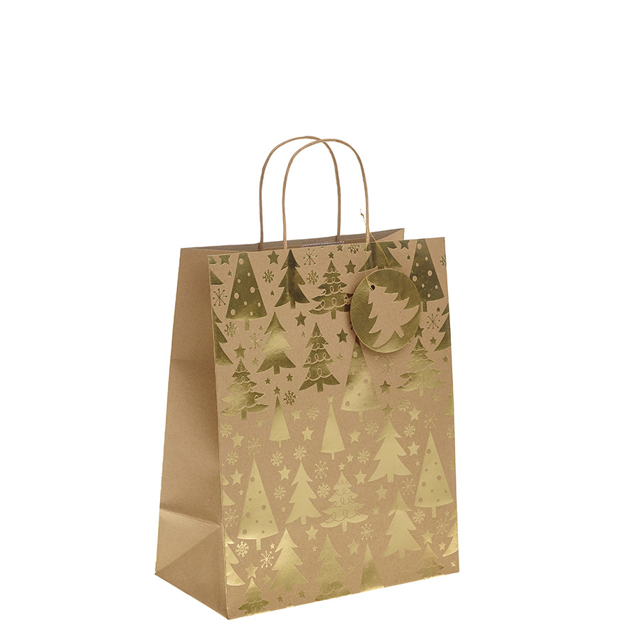 Christmas gift bags my carrier bag for plastic carrier bags and gold metallic christmas tree kraft paper gift bag with twisted handles large x 1pc negle Images