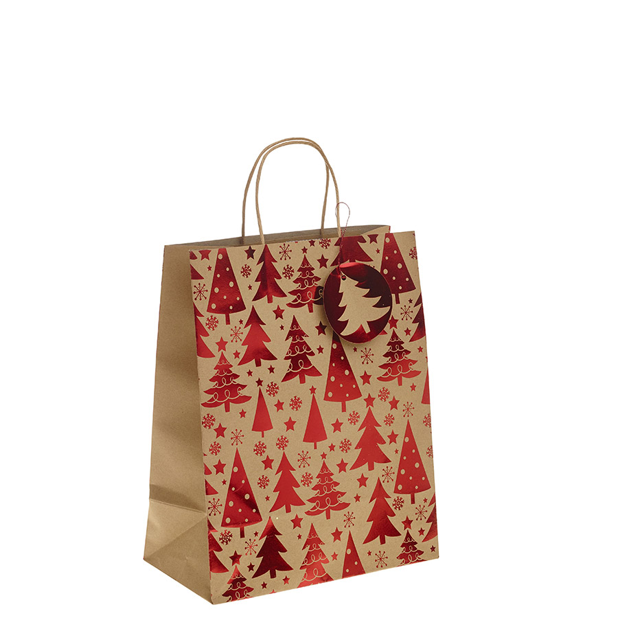 Red metallic christmas tree kraft paper gift bag with