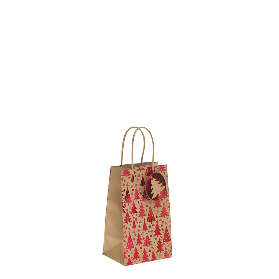 Red Metallic Christmas Tree Kraft Paper Gift Bag With Twisted Handles
