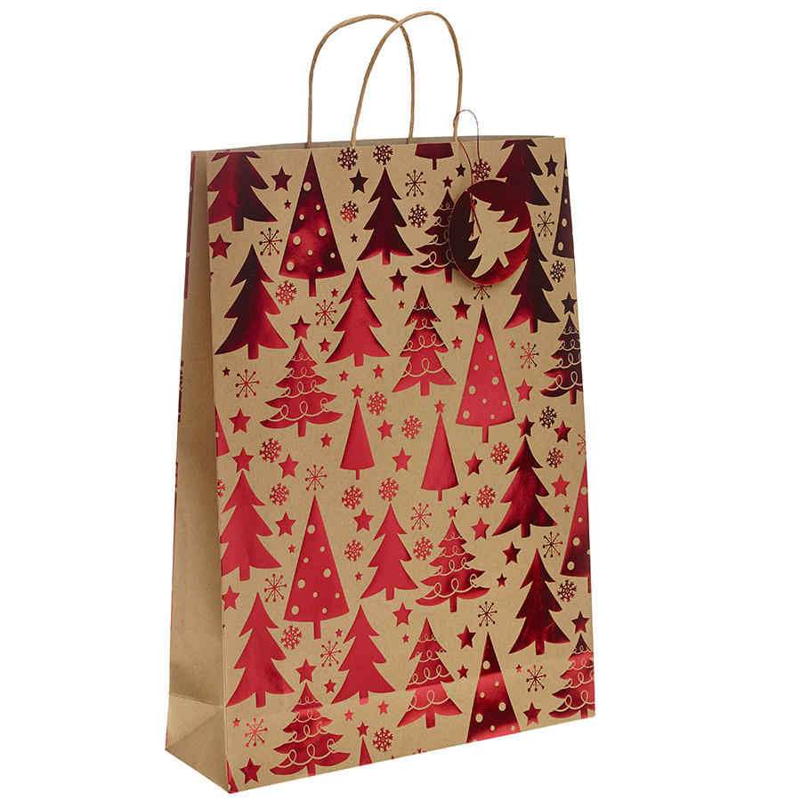 Red Metallic Christmas Tree Kraft Paper Gift Bag With