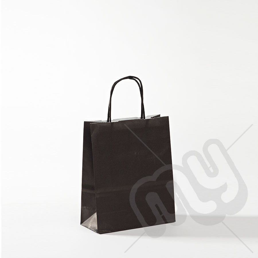 f0770a3b884f Black Kraft Paper Bags with Twisted Handles - Small x 25pcs - My Carrier Bag  for Plastic Carrier Bags and General Packaging Supplies