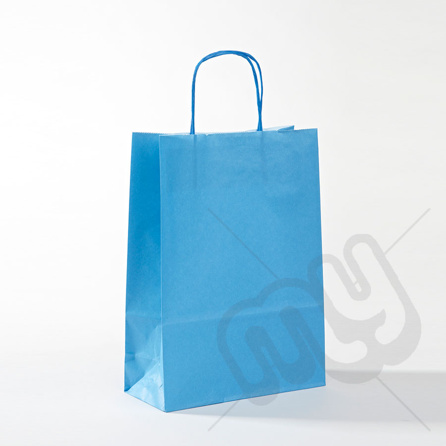 Blue paper bags with handles