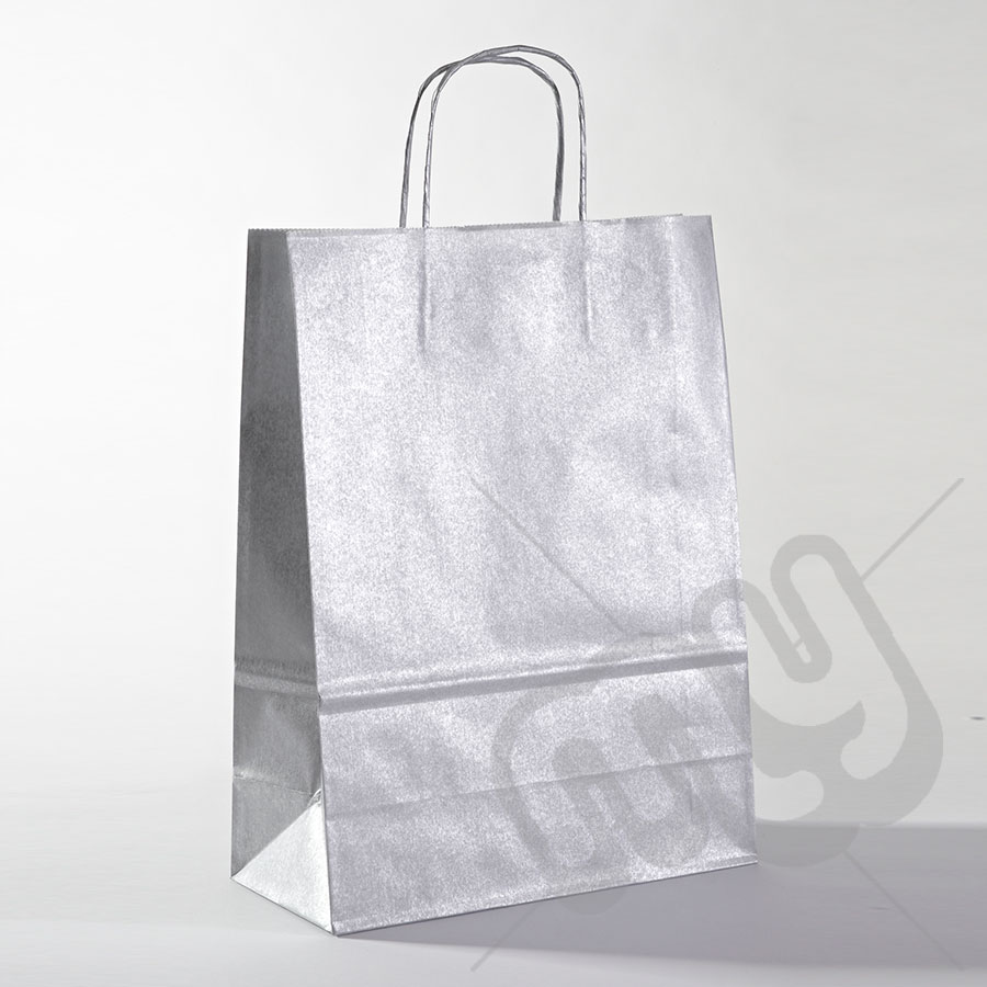silver kraft paper bags with twisted handles large x 25pcs my