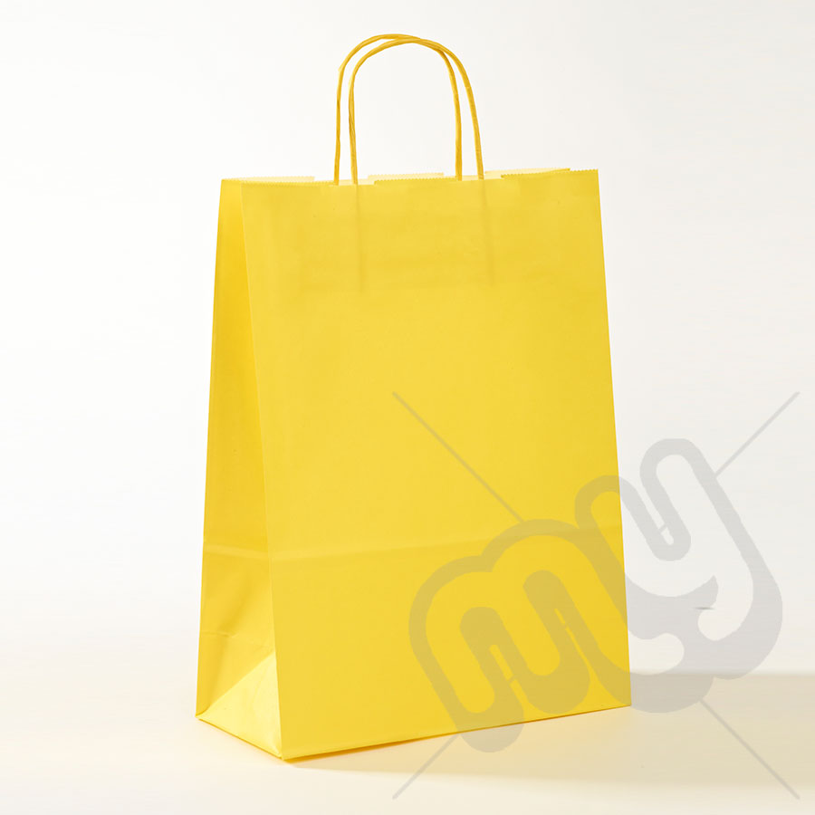 Paper bag yellow - Yellow Kraft Paper Bags With Twisted Handles Large X 25pcs